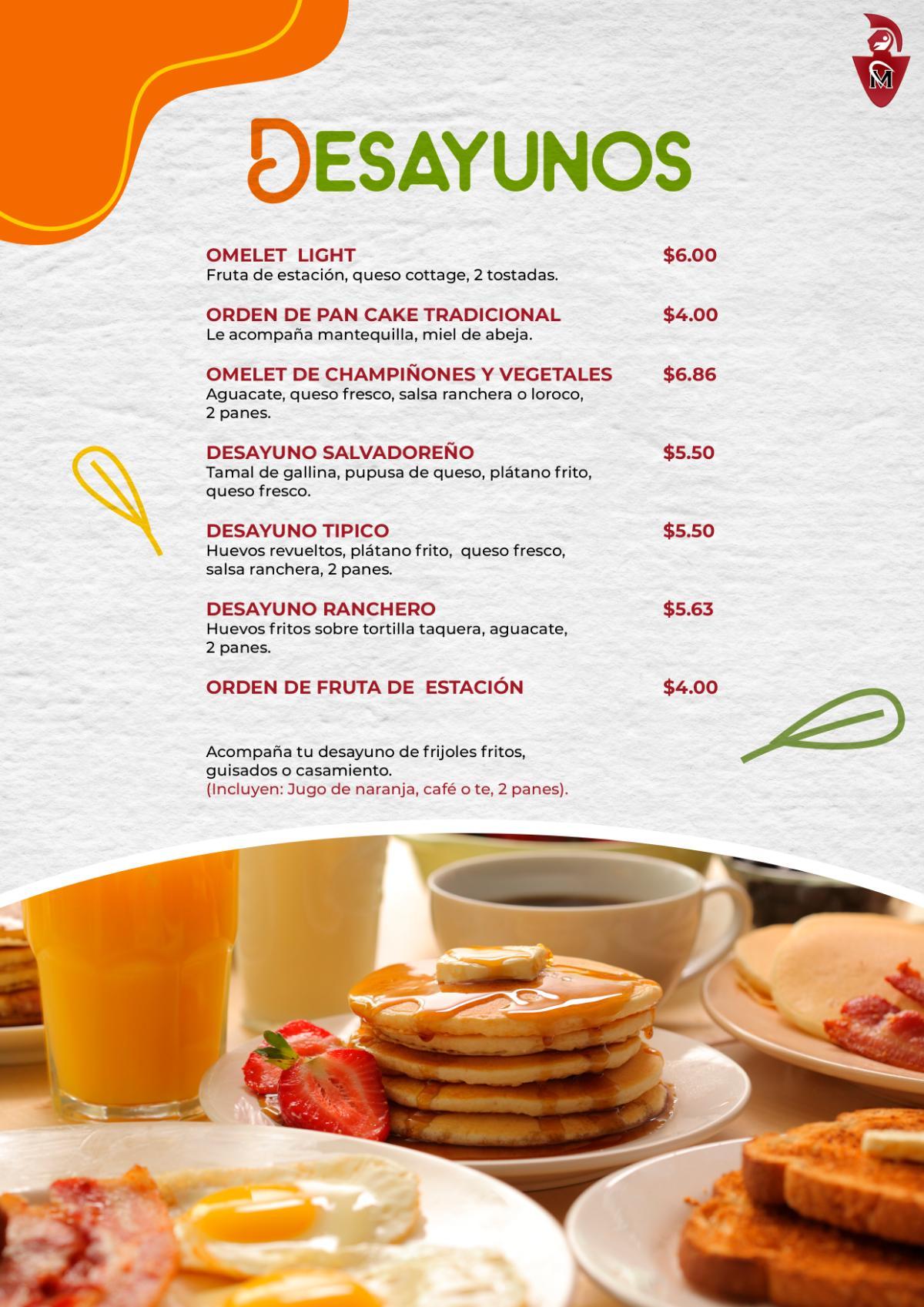 Desayunos Menu Círculo Militar